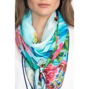 Johnny Was Floral Butterfly Silk Seaview Scarf NWT